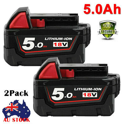 AU85.49 • Buy 2X For Milwaukee 18V 5.0Ah Li-ion Battery Replace For M18 XC5.0 M18B5 48-11-1852