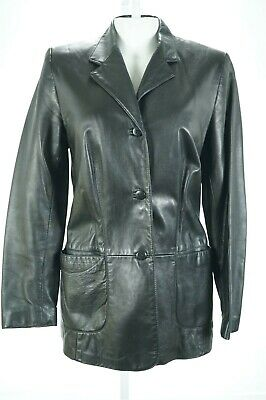 $ CDN50.74 • Buy 01202 Danier Women Coat Jacket Genuine Real Leather Black Size Small Bust 36