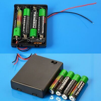 2pcs 4xAAA Battery Holder 4x1.5V 6V Box Case with ON//OFF Switch Cover Leads AAA