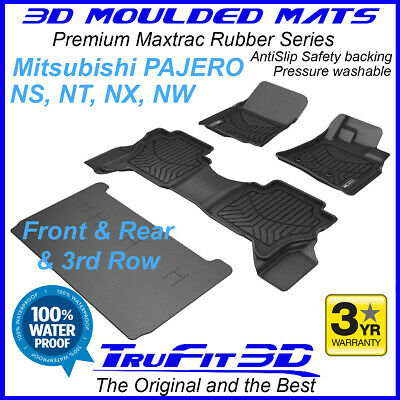 AU2099 • Buy For Mitsubishi Pajero 2006 - 2020 NS-NX 3D Maxtrac Black Rubber Floor Mats 3Row
