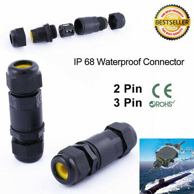 IP68 2 Pin 3 Pin Electrical Cable Wire Connector Outdoor Plug Socket Waterproof • 2.83£