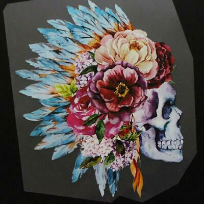 £2.41 • Buy Heat Transfer Flower Skull Pattern Iron On Patches For DIY Craft Clothes Decor F