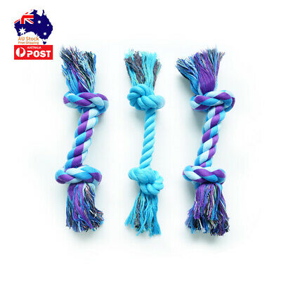 AU15.90 • Buy 3 PC Dog Puppy Rope Toys Pet Chew Toys Gift Durable Cotton Knots Dog Teeth Clean