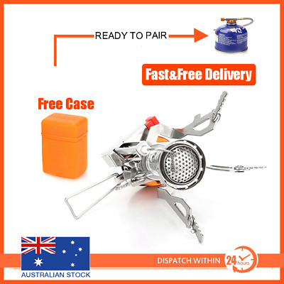 AU15.95 • Buy Outdoor Picnic Gas Burner Portable Backpacking Camping Hiking Mini Stove Silver