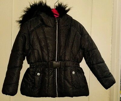 $26.99 • Buy S. Rothschild Little Girl's Belted Puffer Jacket W/ Faux-Fur Trim Size 4T EUC!!!