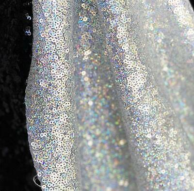 Silver Iridescent Hologram 3mm Sequin Bling Sparkly Fabric 130cm Wide • 1.50£