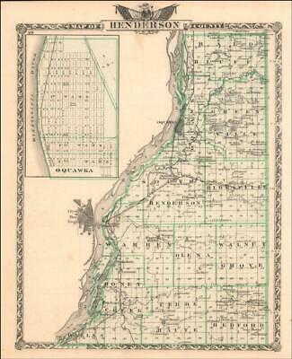 $ CDN64.99 • Buy HENDERSON COUNTY, ILLINOIS MAP + OQUAWKA, Details, Antique Original 1876