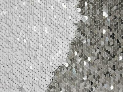 $13.65 • Buy Silver White Reversible 5mm Sequin Fabric Flip Two Tone Mermaid Cloth