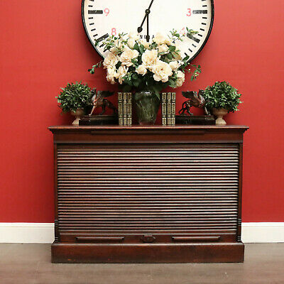 AU750 • Buy Antique English Oak Storage Cabinet Tambour Front File Office Stationery Cabinet