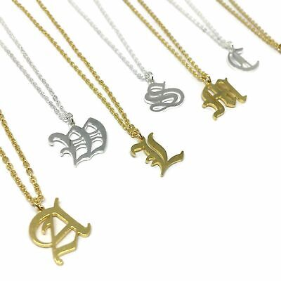 £4.99 • Buy Old English Initial Necklace  FREE UK POST Gold Silver Plated Steel Alloy Letter