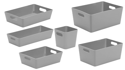 6 X Personalised Grey Home Storage Boxes Box Cleaning Caddy Mrs Hinch Zoflora  • 18.99£