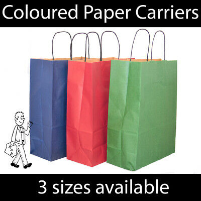 Coloured Kraft Twist Handle Paper Carrier Bags Shopping Christmas Gifts STRONG • 7.49£