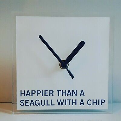 Sun And Sea Quotation Wall Clock, Campervan Lounge Kitchen Office 150x150x10mm. • 10.99£