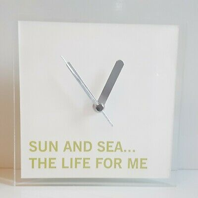 Sun And Sea Quotation Wall Clock, Campervan Lounge Kitchen Office 150x150x10mm • 10.99£
