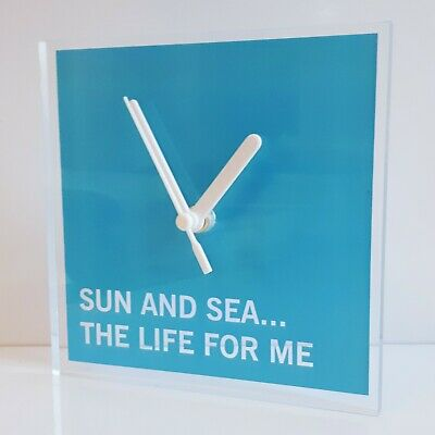 Sun And Sea Quotation Wall Clock, Campervan Lounge Kitchen Office 150x150x10mm , • 10.99£