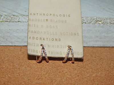$ CDN31.81 • Buy Earrings Anthropologie Double Circle Tiny Gold Plate Tiny Rhinestone New Tag $38