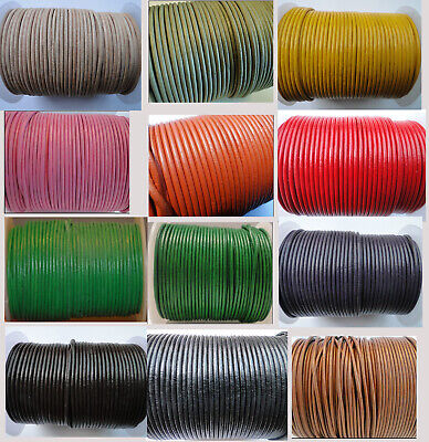 £2.20 • Buy Real Round Leather Cord 2 Mm String Lace Thong For Jewellery Necklace Genuine