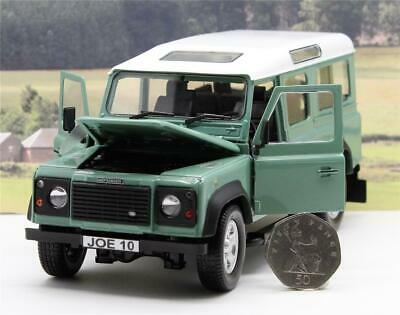 PERSONALISED PLATE GIFT 1/24 Green LAND ROVER DEFENDER Model Boys Toy Dad Boxed • 24.95£
