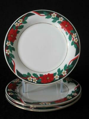 $28 • Buy 4 Tienshan Deck The Halls Dinner 10  Plates Christmas Poinsettia 3sets Available