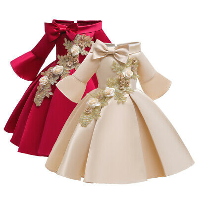 £15.63 • Buy Children Girls Ball Gown Embroidery Bridesmaid Christmas Party Formal Dresses