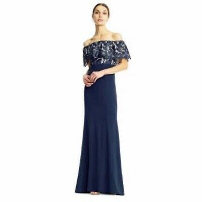 $44.99 • Buy Pre-Owned Women's Size 2 Aidan Mattox Navy Blue Lace Gown MSRP $275
