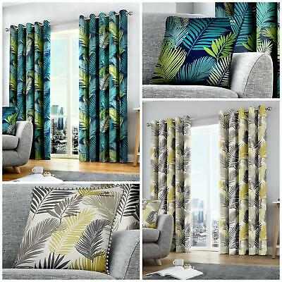 TROPICAL PATTERN Lined Curtains Ready Made EYELET Ring Top 100% COTTON • 46.99£
