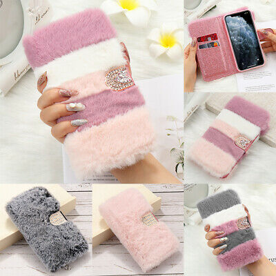 Warm Soft Faux Fur Leather Flip Wallet Case Cover For IPhone 11 XS Max XR 7 8 6S • 6.79£
