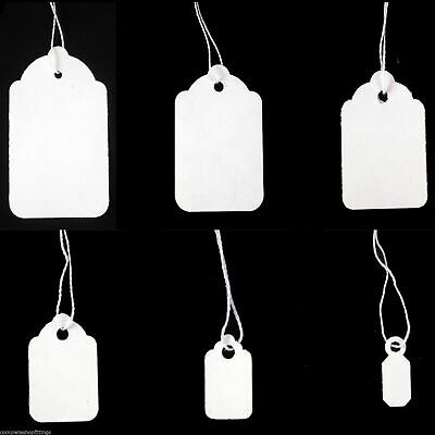 White Strung Tie On Tags Labels Retail Luggage  / Price Tags With String FREE PP • 3.79£