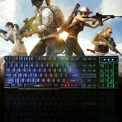 AU20.59 • Buy LED Mechanical Feel Gaming Keyboard 108 Key Wired USB Wired Luminous Backlit