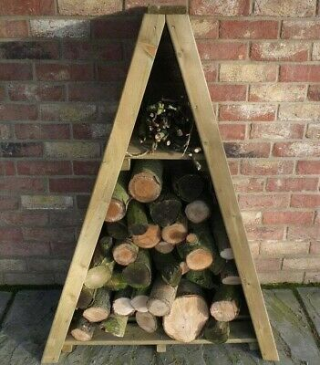 3x2 TRIANGLE LOGSTORE OVERLAP STORAGE FIREWOOD RACK LOG STORE WOODEN TIMBER WOOD • 74.94£
