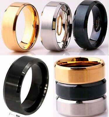 8mm Stainless Steel Mens Womens Wedding Band Black Gold Silver Ring Size K To Z • 4.99£