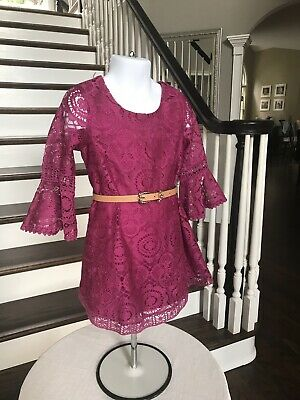 $7.99 • Buy Pink & Violet Little Girl's Lace Magenta 3/4 Sleeves Dress With Belt Size 4