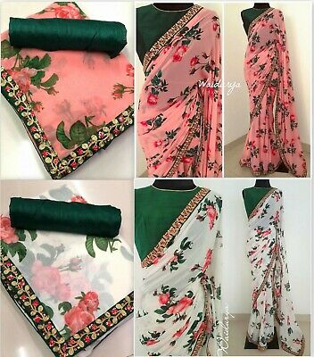 £16.49 • Buy Latest Indian Asian Bridal Floral Georgette Party Wear Saree Sari Blouse Kr
