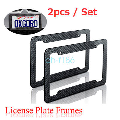 2pc/Set Plastic Carbon Fiber Style License Plate Frames For Front & Rear Braket • 7.99$
