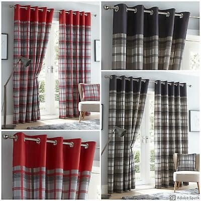 Orleans - CHECK PATTERN Ready Made FULLY LINED Curtains EYELET Ring Top - PAIR • 22.99£