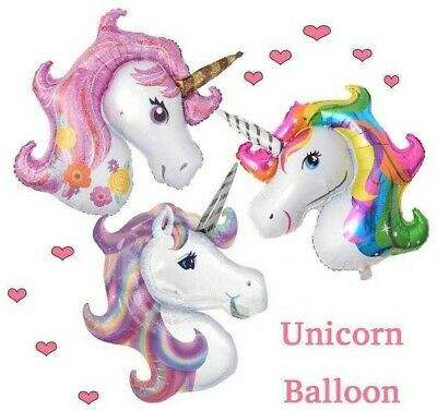 AU4.60 • Buy JUMBO UNICORN FOIL Balloon 3 Colour 110cm Helium Birthday Kids Party Melb Seller