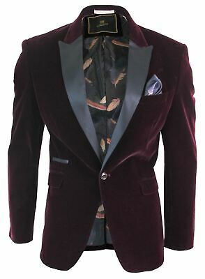 $ CDN222.17 • Buy Men Soft Velvet Wine Maroon 1 Button Dinner Jacket Tuxedo Blazer Smart Casua