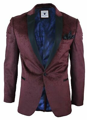 $ CDN247.81 • Buy Mens Marc Darcy Velvet Paisley Wine Blazer Tuxedo Dinner Jacket Smart Casual