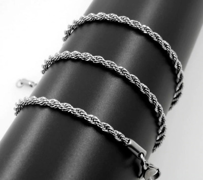 2mm Stainless Steel Mens & Womens Rope Chain - 18 , 20 , 22  24  Silver Necklace • 3.99£