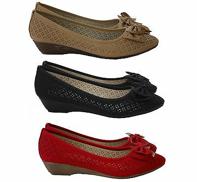 New Womens Ladies Mid Wedge Heels Work Party Bow Front Pumps Casual Court Shoes • 10.99£
