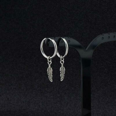 Hip Hop Kpop Boy Leaf Titanium Feather Pendant Hoop Earrings Korean Jewelry • 2.96£