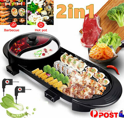 AU55.25 • Buy Electric 2 In 1 Hotpot BBQ Oven Smokeless Barbecue Pan Grill Hot Pot Machine AU