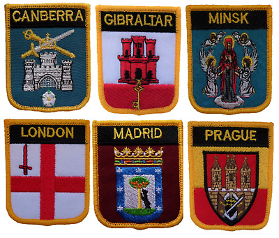 £4.50 • Buy World Capital Cities Shield Embroidered Patches By Country