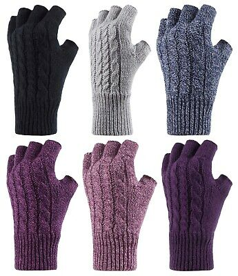 £13.74 • Buy HEAT HOLDERS - Ladies Knitted Cute Cable Pattern Thermal Fingerless Gloves