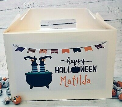Personalised Halloween White Gift Box Favour Present Box Large Witch Skeleton  • 3.90£