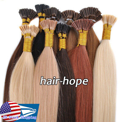 US Pre Bonded Keratin I Tip Stick Fusion Tip 100% Real Human Hair Extensions1g/s • 25$