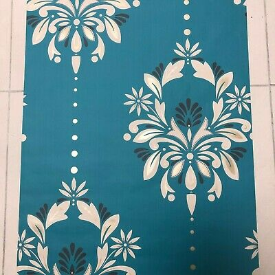 Blue & White Antoinette Peacock Damask Feature Wallpaper- By Dulux 30-736 • 8.99£