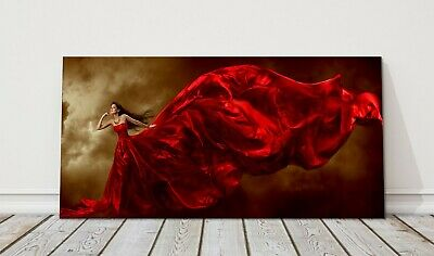 £21.95 • Buy Fashion Model Woman Red Dress Panoramic Canvas Picture Print Glamour Art Model
