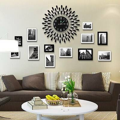 AU40.99 • Buy Large Modern 3D Crystal Wall Clock Luxury Round Dial Black Drops Home Office