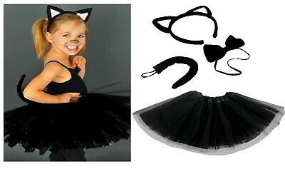 Kids Halloween Black Cat Fancy Dress Witches Costume TUTU Ears Accessory Set • 7.95£